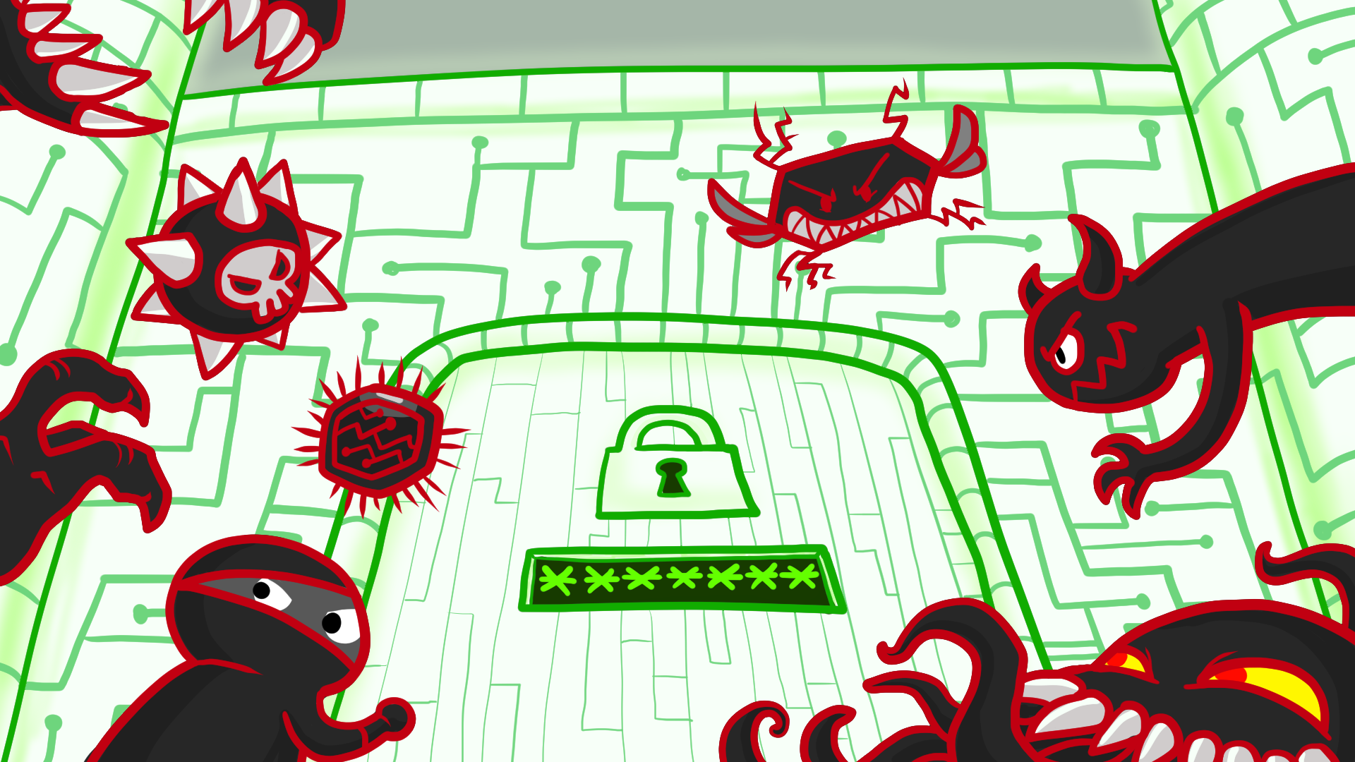 Illustration of monsters, robots, and villains trying to enter a door with a password dialog box on it