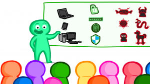 Illustration of a teacher presenting to a class, with a projection of cybersecurity symbols