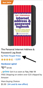 Screenshot of a listing for a password journal sold directly by Amazon